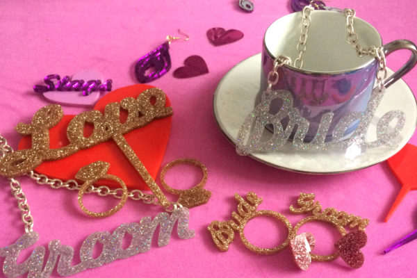 BRIDE & GROOM; Glitter Serviette Rings | Perspex Artwork | Home Decor | Kokomo Design