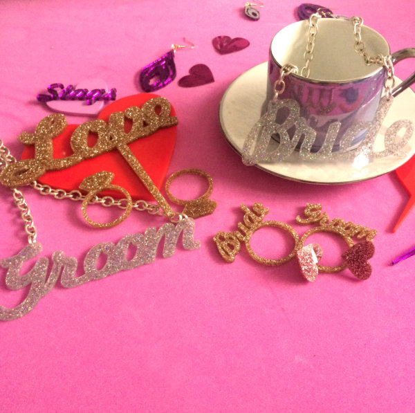 DISCO GROOM; Glitter Perspex Statement Necklace | Festival & Party Jewellery | Kokomo Design | Bristol