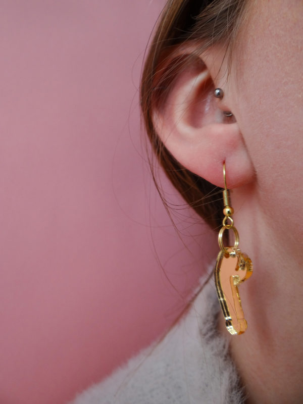 Small Gold Dick Earrings