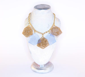 IRREGULAR HEXAGON; 5 Drop Glitter and Fluorescent Perspex Necklace | Festival & Party Jewellery | Kokomo Design | Bristol