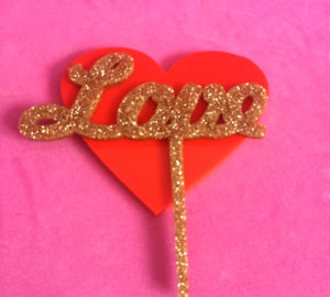 LOVE; Glitter Cake Topper | Perspex Artwork | Home Decor | Kokomo Design