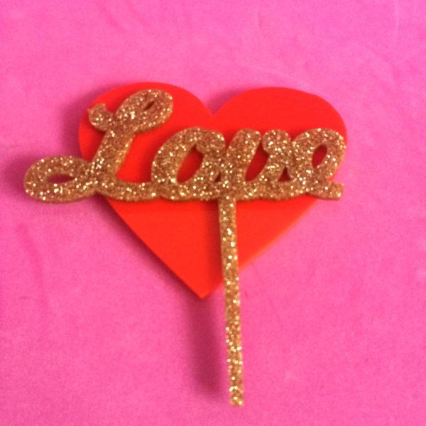 LOVE; Glitter Cake Topper | Perspex Artwork | Home Decor | Kokomo Design