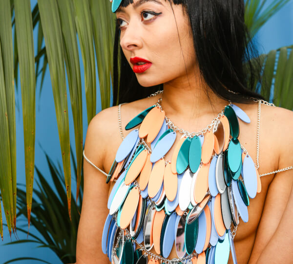 DISCO FEATHER perspex top | Festival & Party Top | Kokomo Design | Bristol