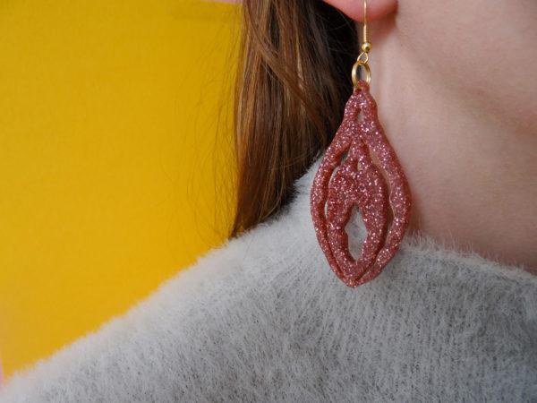 Statement Glitter Clit Earrings