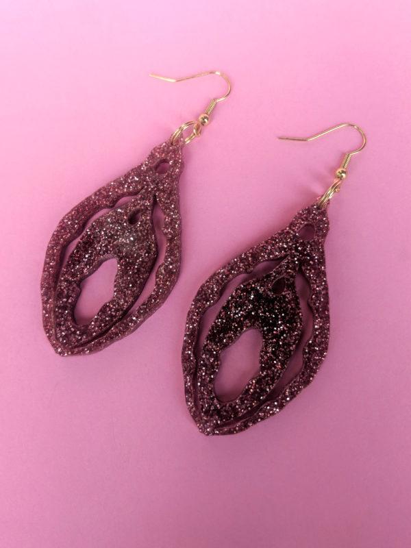 Statement Clit Glitter Earrings