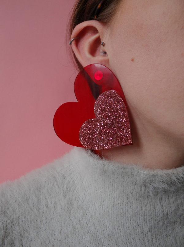 HeartEarringsTrans&GlitterStuds