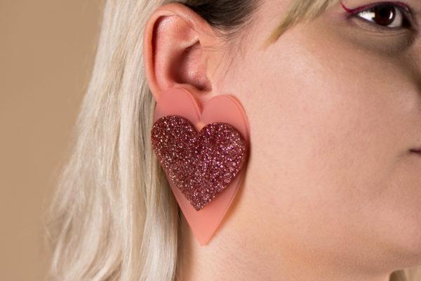 HeartEarringsMatt&GlitterStuds