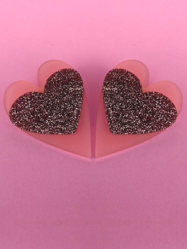 HeartEarringsMatt&Glitter